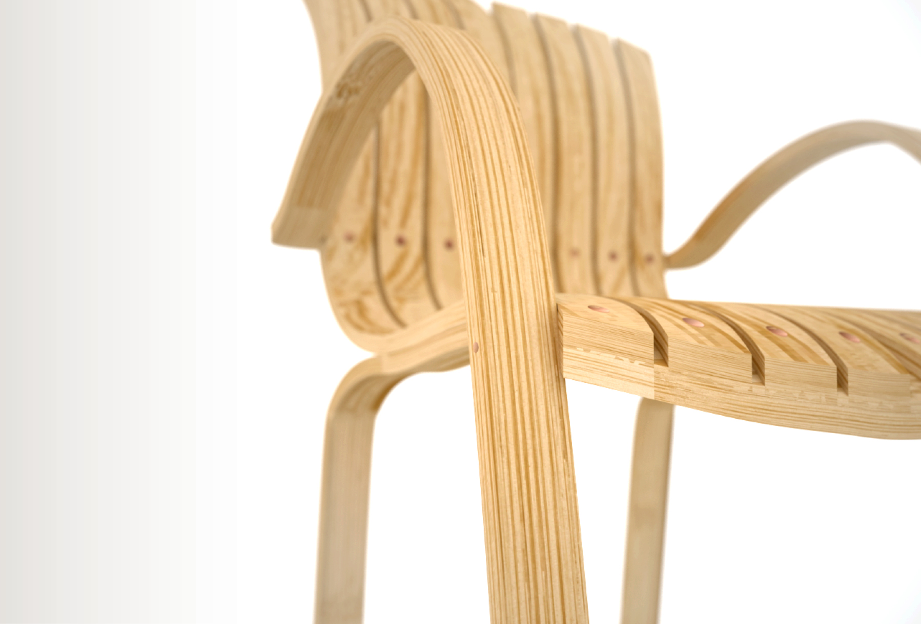 The Chair Is Made Of 5 Parts Of Multi Ply Laminated Bamboo Strips With Wood  Screws As Fasteners. This Concept Was Created Using Rhino And Maxwell  Render.